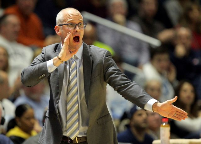 Rhode Island head coach Dan Hurley yells instructions to his team during the first half of an NCAA college basketball game against Richmond Tuesday, Feb. 13, 2018, in Kingston, R.I. (AP Photo/Stew Milne)