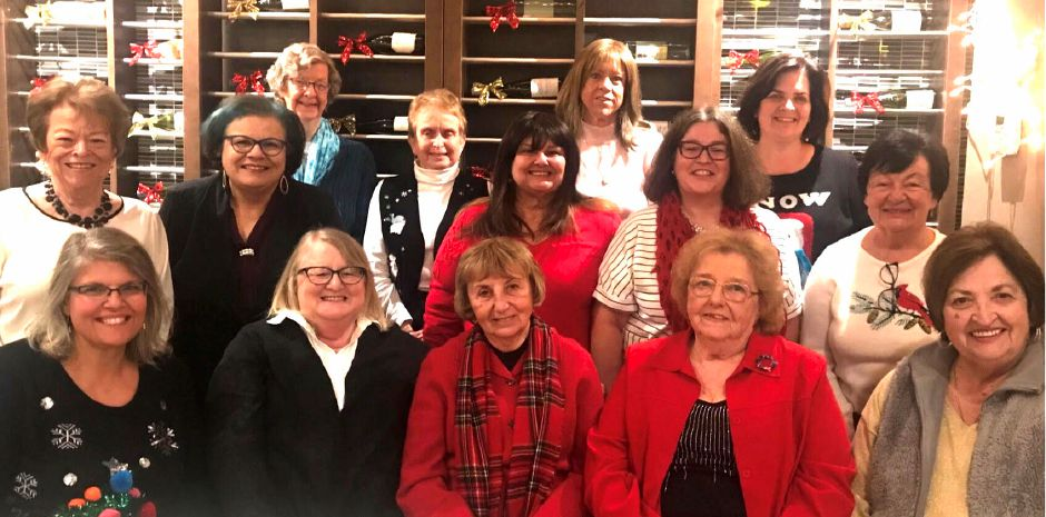 Holiday Celebration – Front row: Recording Secretary, Mary Lou Woods; Treasurer, MaryAnne Combelic; President, Linda Cioffi, Vice President, Lois Wetmore, Corresponding Secretary, Kathy Kubeck; Middle Row: Sheila Kravitz, Jane Dioguardi, Maggie Perotti, , Siobhan Morgan, and Irene Masse; Back row: Janice Antonio, Sharon Strickland, Sheryl Estrom, and Sue Vitcavage.