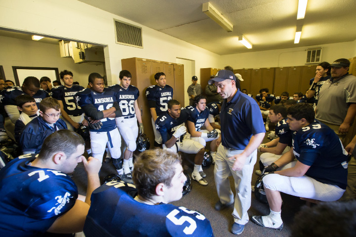 Ansonia football coach Tom Brockett and his Chargers have come up empty in their last two state championship game trips to New Britain's Veterans Stadium. On Saturday, the Wallingford resident and his team will look to land Ansonia's 20th CIAC football crown when they face Rocky Hill in the Class S final. Kickoff is 10:30 a.m.  | Justin Weeke, Special to the Record-Jounal