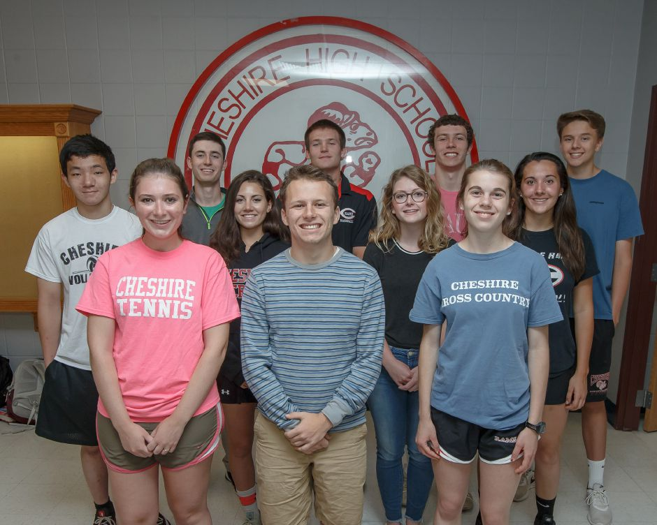 Introducing Cheshire High School's Record-Journal Scholar-Athletes for the 2018 spring season. In the front row, from left, are Caroline Jentzen, Isaac Moskowitz and Lauren Daddi. In the middle, left to right, are Joe Chen, Samantha Oris, Leah Gutowski and Natalie Amato. In the back row, left to right, are Jack Stanton, Ben DeLabell, Michael Jeffery and Andrew Walton. Justin Weekes, special to the Record-Journal