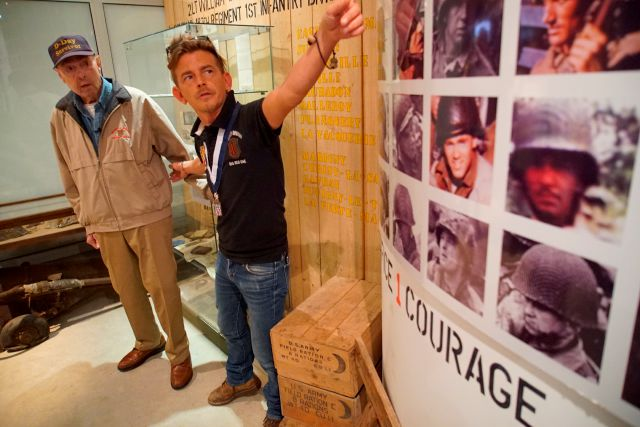 Founder Pierre-Louis Gosselin shows D-Day survivor Ray Lambert around his Big Red One Museum in Collevilile-sur-Mer, France, on Wednesday, June 5, 2019. The museum is dedicated to the Army
