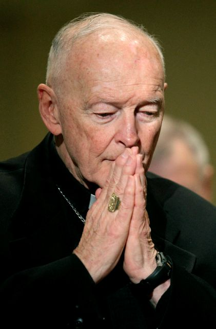 FILE - In this Nov. 14, 2011 file photo, Cardinal Theodore McCarrick prays during the United States Conference of Catholic Bishops