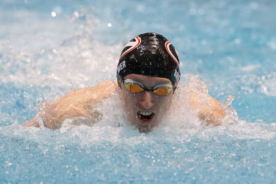 Cheshire senior Ben Brewer placed third in the 100 butterfly and seventh in the 200 freestyle to lead area swimmers at the CIAC State Open at Yale's Kiputh Pool. His time of 51.38 in the butterfly was a new school record. | Justin Weekes / Special to the Record-Journal