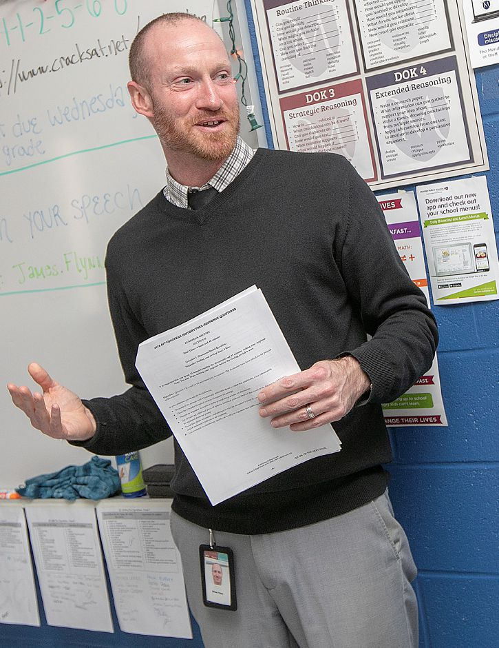 Platt High School social studies teacher James Flynn is surprised upon receiving an education travel grant from Fund For Teachers and the Dalio Foundation, Thurs., Apr. 4, 2019. Flynn was one of ten Meriden teachers receiving the grant Thursday morning. Dave Zajac, Record-Journal