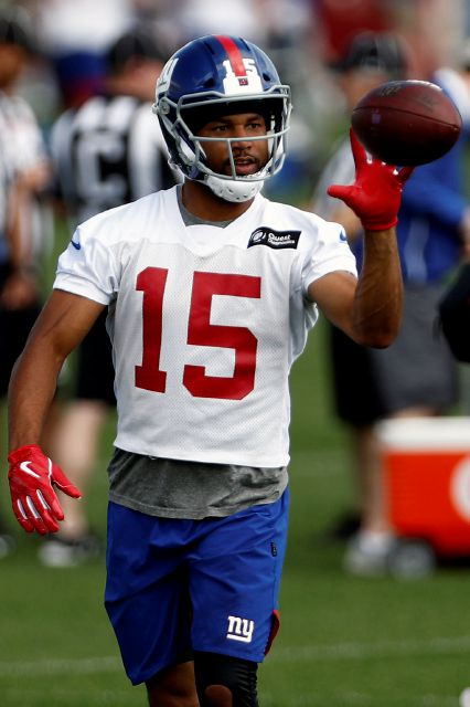 FILE - In this May 20, 2019, file photo, New York Giants wide receiver Golden Tate makes a catch during an NFL football practice in East Rutherford, N.J. Golden Tate has had the appeal of his four-game suspension for a violation of the NFL