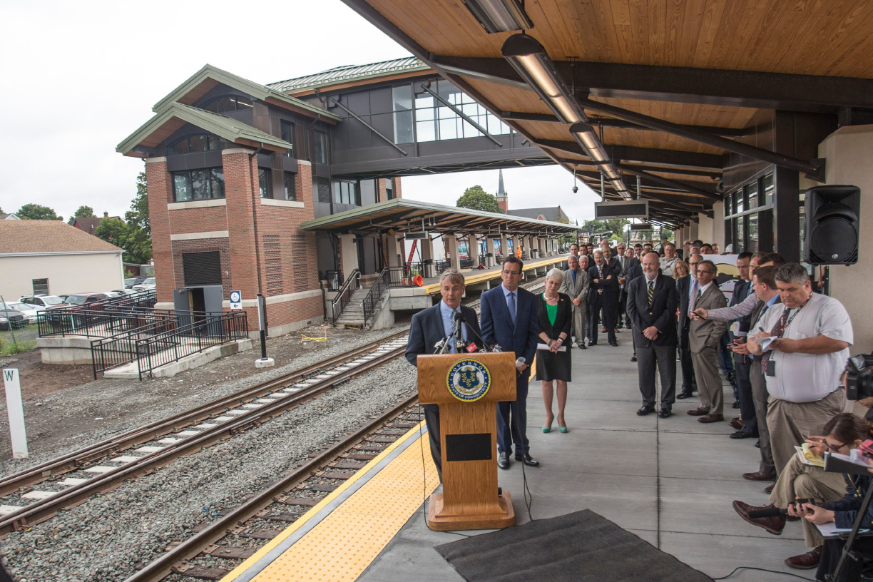 Connecticut Department of Transportation Commission James Redeker speaks at the Wallingford Train Station July 24, 2017. | Richie Rathsack, Record-Journal
