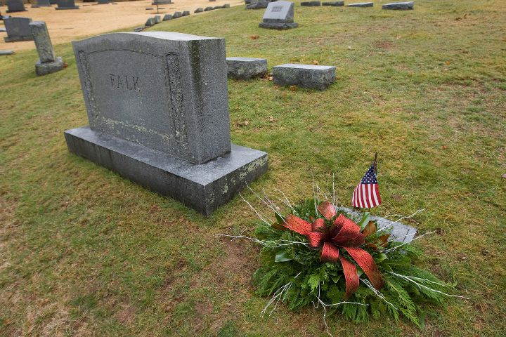 "A wreath placed on the grave of infant David Paul during an annual memorial service at Walnut Grove Cemetery in Meriden, Wednesday, January 4, 2017. The 1-day-old boy, was found frozen to death at the base of a tree in a South Meriden parking lot on Jan. 2, 1988. The police department adopted the child and gave him the name David Paul, which means ""God's beloved little man"" in scripture. The mother was never found and the case remains open. 