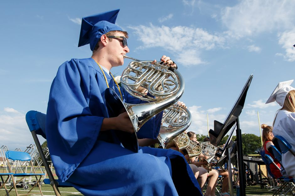 Joey Martin plays the French horn during a performance Thursday during Southington High School Graduation ceremonies at Southington High School in Southington June 21, 2018 | Justin Weekes / Special to the Record-Journal