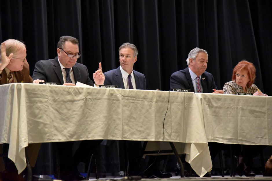 The board of police commissioners meets at the North Haven Middle School on Jan. 15, 2019. Four policemen were promoted during the meeting. | Bailey Wright, Record-Journal