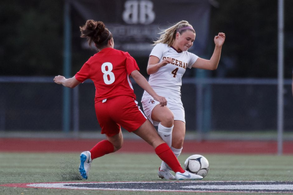 Kaitlyn Loura, seen here in action Saturday evening against Sheehan, had two goals and assisted on a third in Cheshire's 3-0 victory over Daniel Hand on Wednesday night at Alumni Field. | Justin Weekes / Special to the Record-Journal