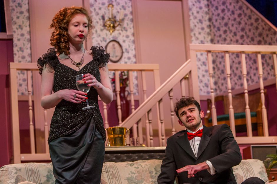 Piper Birney as Claire and Connor Parente as Lenny rehearse for the Lyman Hall High School theater production Feb. 6, 2019. | Ron Paris, Special to the Record-Journal