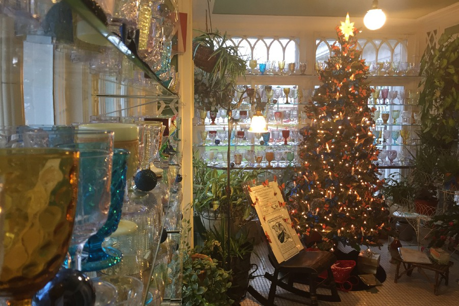 Holiday decorations are on display in the Barnes Museum in Southington.