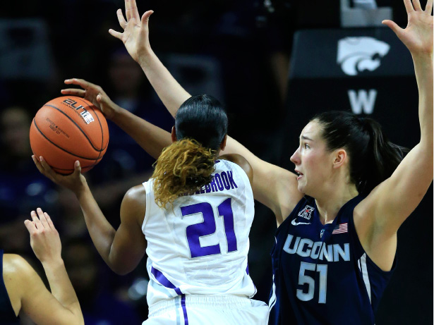 UConn's Natalie Butler (51) guards Kansas State's Karyla Middlebrook during the first half of Sunday's game in Manhattan, Kan. | Associated Press