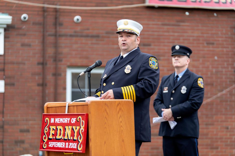 Kensington Fire Rescue Chief Jeff Pajor speaks at the opening of the company