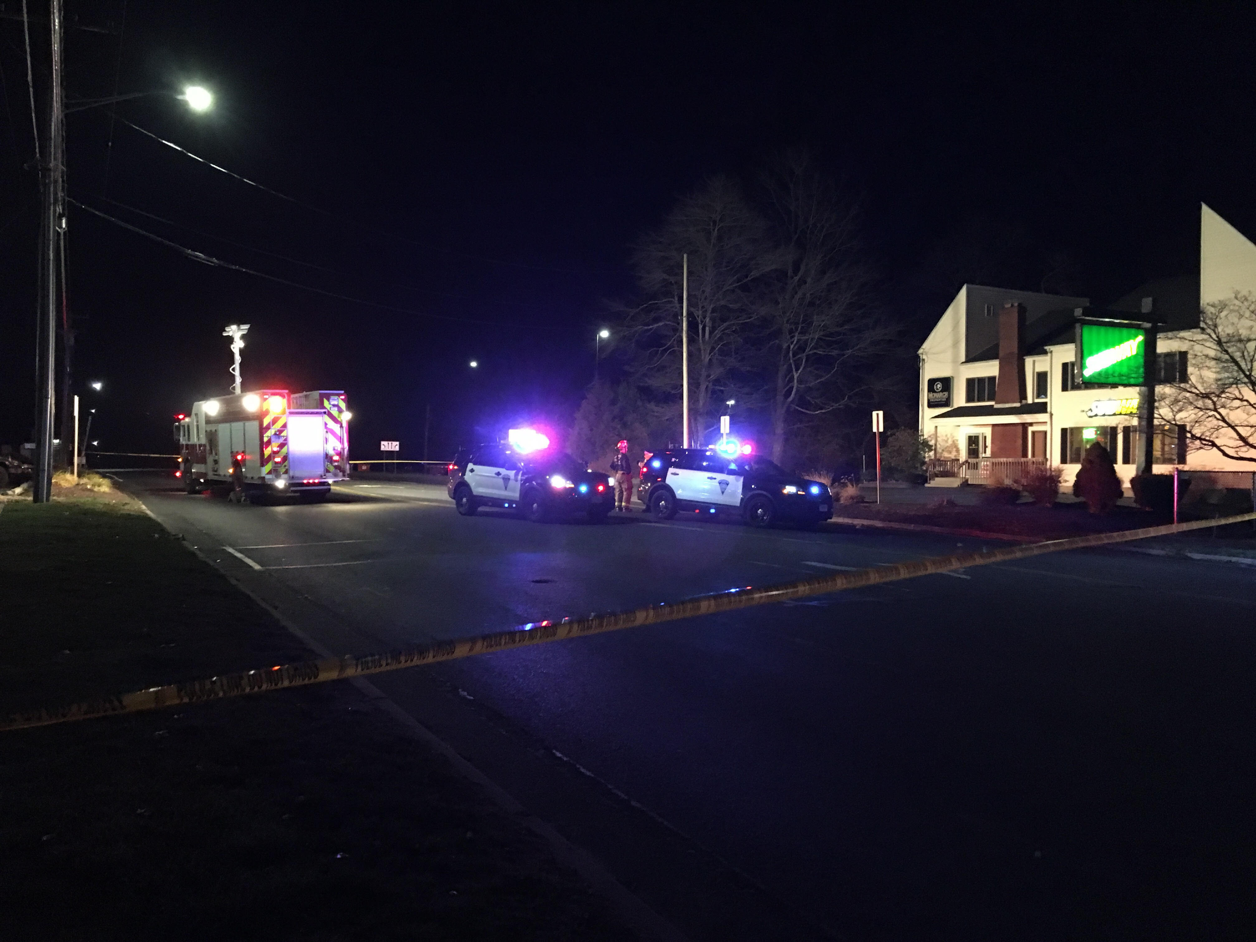 Emergency crews on Route 322 after a man was struck by a truck Wednesday, Dec. 14, 2016. | Lauren Takores, Record-Journal