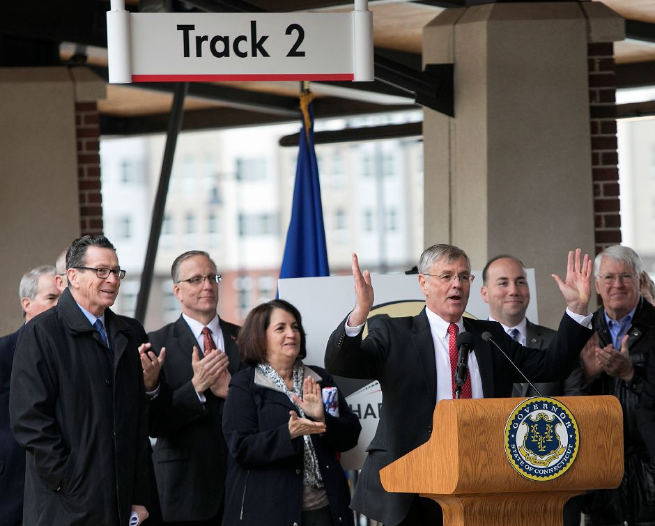 Department of Transportation Commissioner James Redeker speaks at the Meriden train station, Thursday, April 19, 2018. State and city leaders crowded onto the platform at the new Meriden train station to cut the ribbon on the CTrail Hartford Line, which officials hope will provide an alternative option for commuters and potentially ease highway congestion. Dave Zajac, Record-Journal