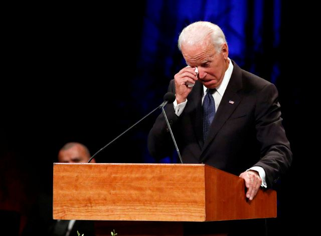 Former Vice President Joe Biden wipes a tear away while giving a tribute during memorial service at North Phoenix Baptist Church for Sen. John McCain, R-Ariz., on Thursday, Aug. 30, 2018, in Phoenix. (AP Photo/Jae C. Hong)