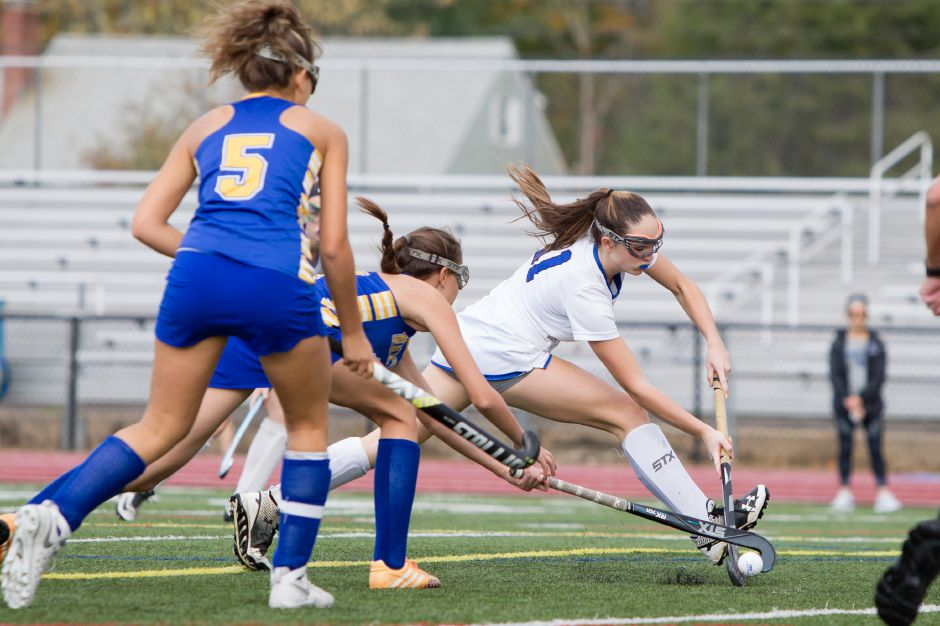 Returning All-State senior Jenna Sheehan set up three of Southington's four goals in a 4-0 CCC crossover win over E.O. Smith Monday in Mansfield. | Justin Weekes / For the Record-Journal