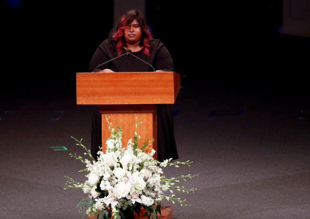 Bridget McCain speaks during memorial service at North Phoenix Baptist Church for her father, Sen. John McCain, R-Ariz., on Thursday, Aug. 30, 2018, in Phoenix. (AP Photo/Matt York, Pool)