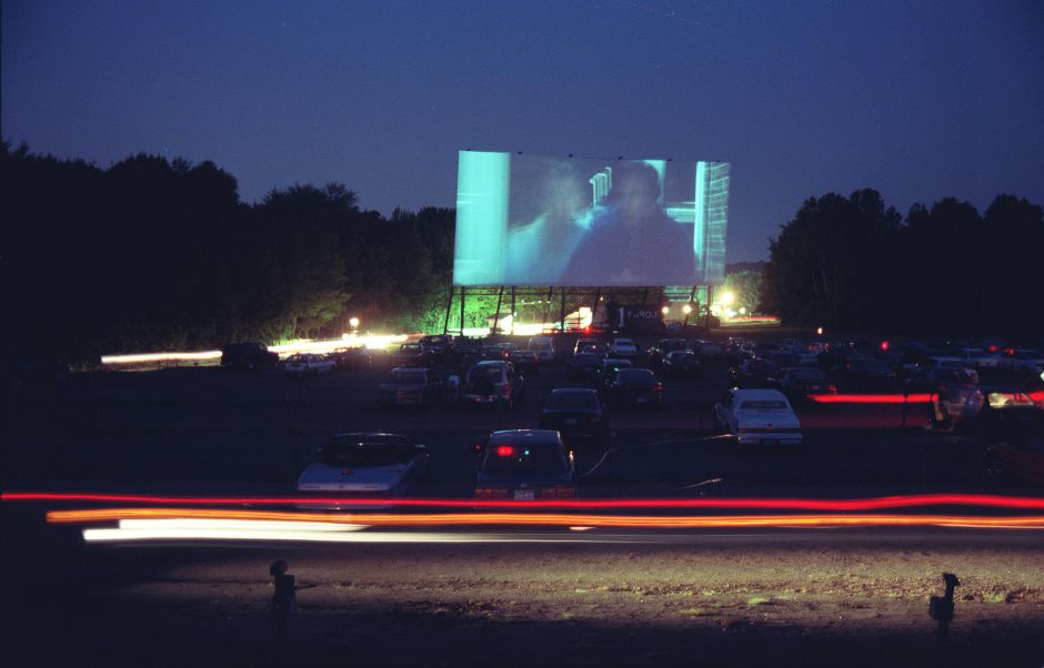 Night has finally fallen and the picture begins while the latecomers get themselves situated at the Southington Twin Drive In Aug. 1999.