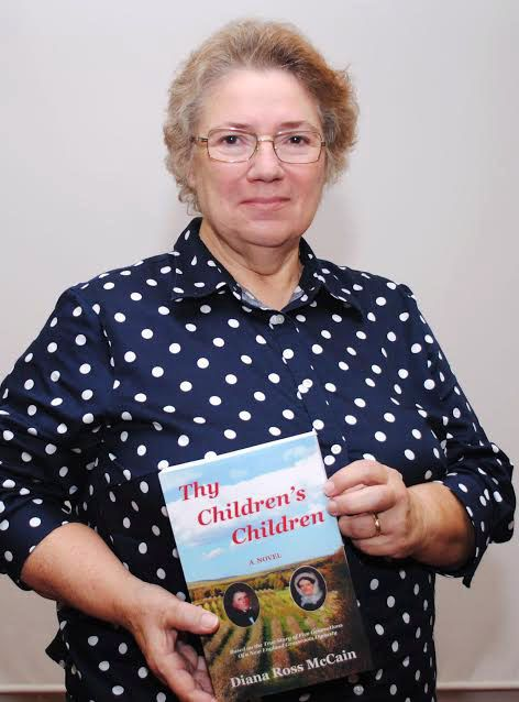 "Middlefield historian Diana Ross McCain, holding her novel about the Lyman family, ""Thy Children's Children."" McCain spoke at the Southington Historical Society Saturday about her latest book ""From the Kitchen to the Capitol: Four Feisty Connecticut Women."" 