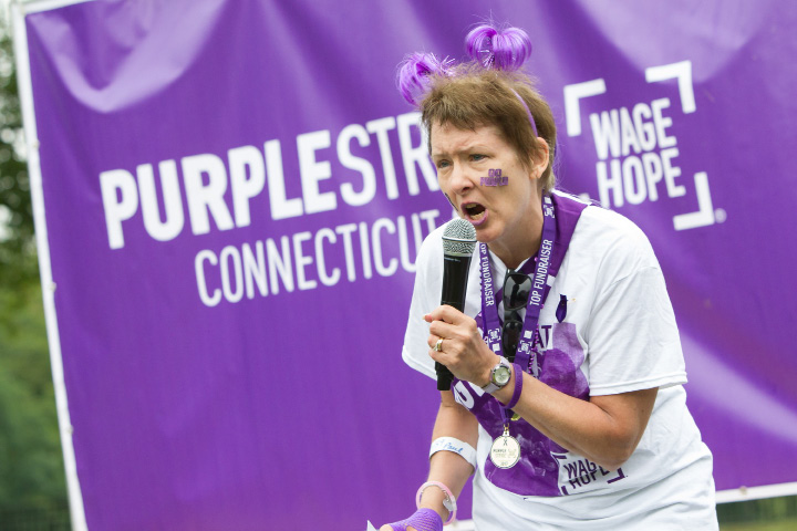 Louise Piserki of Glastonbury talks about her experience in fighting cancer Saturday during the PurpleStride 5k and walk fundraiser for Pancreatic Cancer Action Network at Hubbard Park in Meriden Jun. 17, 2017 | Justin Weekes / For the Record-Journal