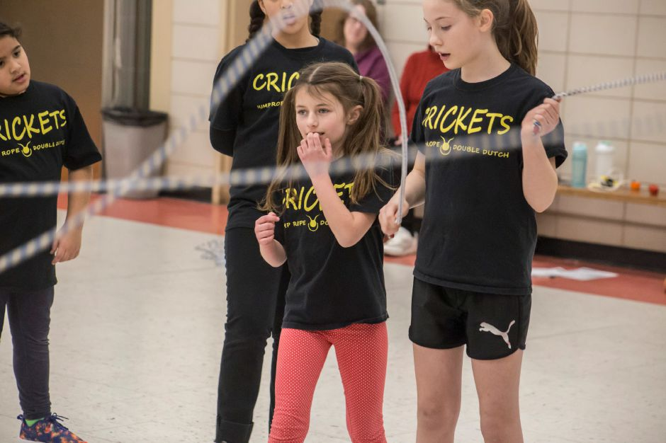 Miley Stevens gets ready to run in as The Crickets double dutch team practices at Kelley School in Southington Feb. 27, 2018. | Richie Rathsack, Record-Journal staff