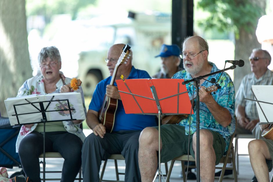 The Plainville Senior Center Ukulele Group played during the town