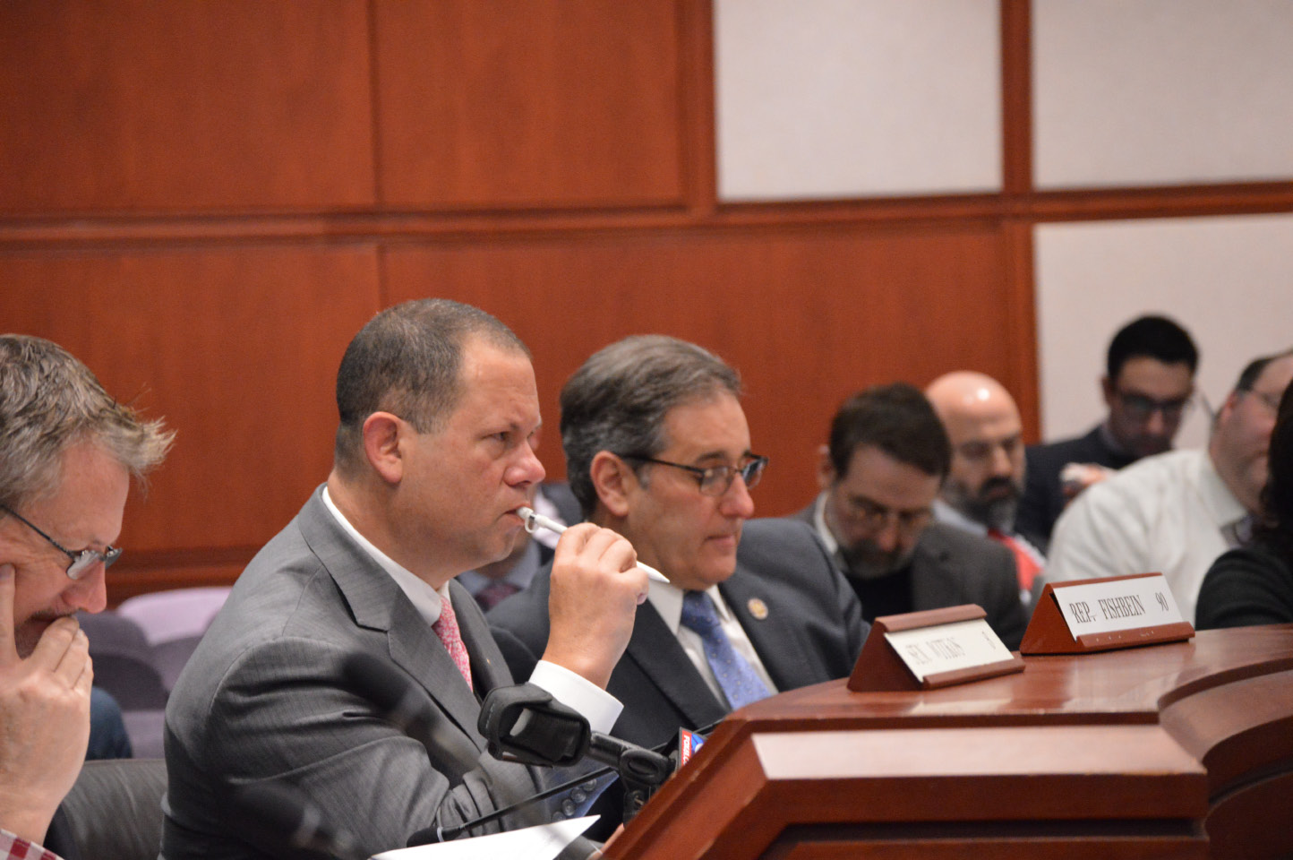 Rep. Craig Fishbein, R-Wallingford, left, and Rep. John Fusco, R-Southington, during a Public Safety and Security Committee meeting Wednesday. | Mike Savino, Record-Journal