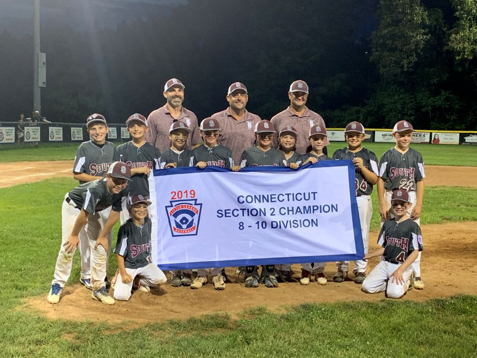 The Southington South Little League's 8-10 All-Star team celebrates its Section 2 championship after defeating East Granby/Granby 16-5 in the sectional final on Saturday evening at Sperry Park in Avon. | Photo courtesy of Katie Guerrette