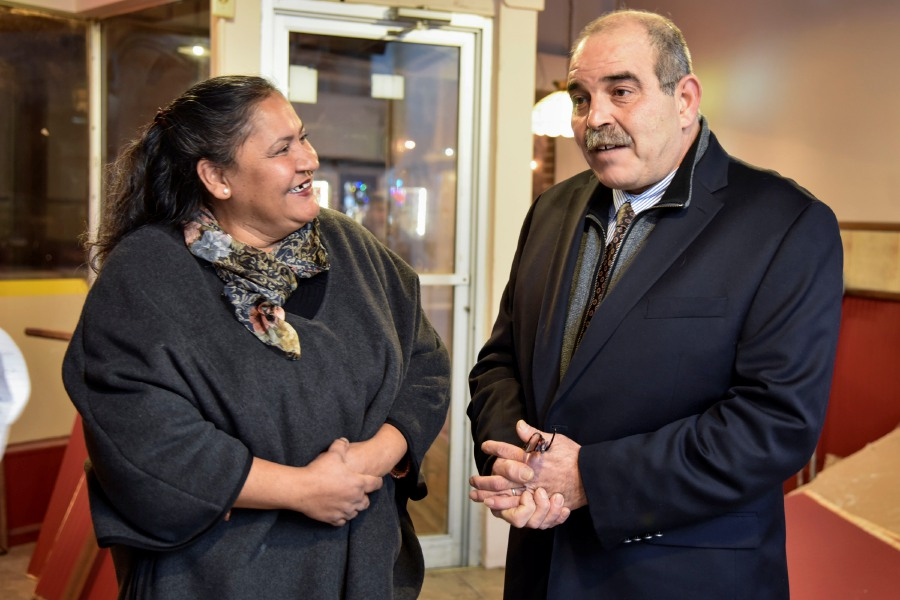 Sonia Gomez and Sam Sharif, a couple from Meriden, at the location of their new vegan restuarant, on Friday, Dec. 15. Arles Boggs will open in the old Tatas location, at 104 Quinnipiac St. in April. | Bailey Wright, Record, Journal