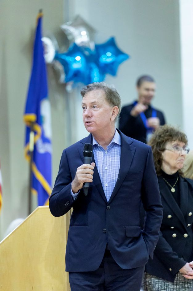 Governor Ned Lamont speaks during an assembly where a Plainville art teacher was awarded the Milken Educator Award on Jan. 23, 2019. Toffolon Elementary School teacher Michael Zaba received 25,000 in recognition of his work bringing new initiatives to the school. | Devin Leith-Yessian/Record-Journal