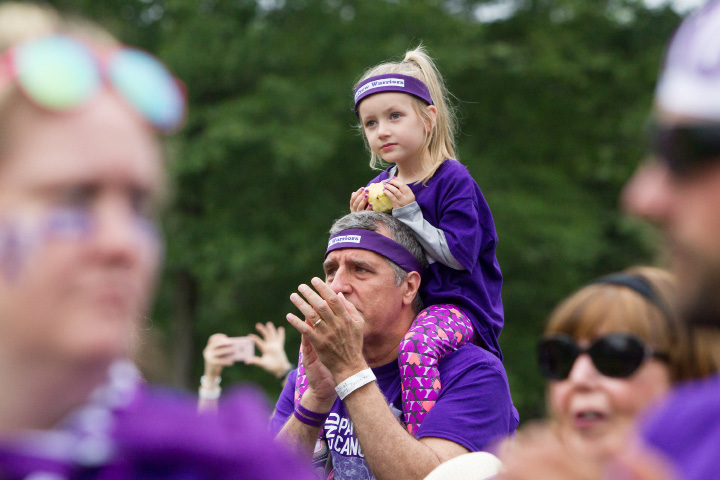 Mark Glunosky with granddaughter Charlotte Morse 4 of Ellington Saturday during the PurpleStride 5k and walk fundraiser for Pancreatic Cancer Action Network at Hubbard Park in Meriden Jun. 17, 2017 | Justin Weekes / For the Record-Journal