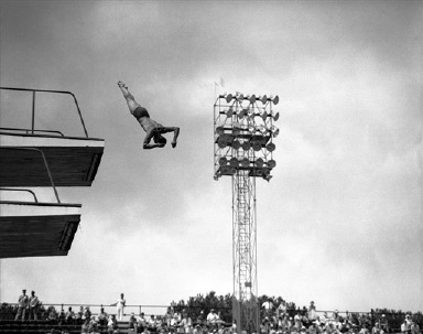 Brian Phelps of Great Britain in action in the qualifying round of the high diving event of the Summer Olympic Games in Rome, Italy on August 31, 1960. He qualified in first place. (AP Photo)