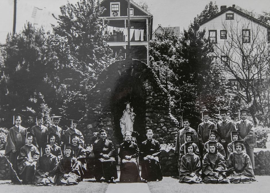 A photograph of the first graduating class — Cessario is seated in the middle of the second row on the right. Courtesy Mount Carmel