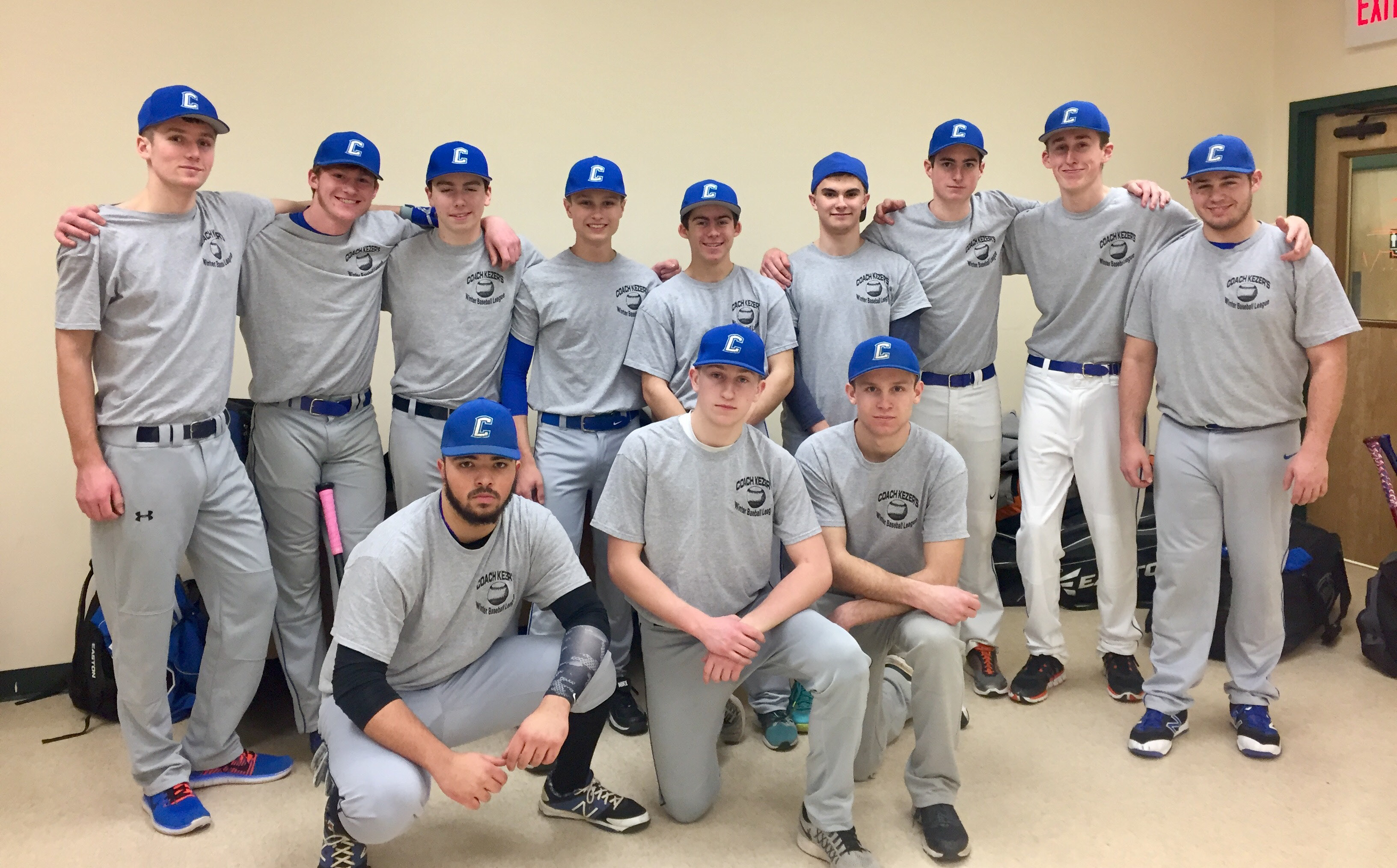 Several Coginchaug Regional High School baseball players are participating in Coach Kezer