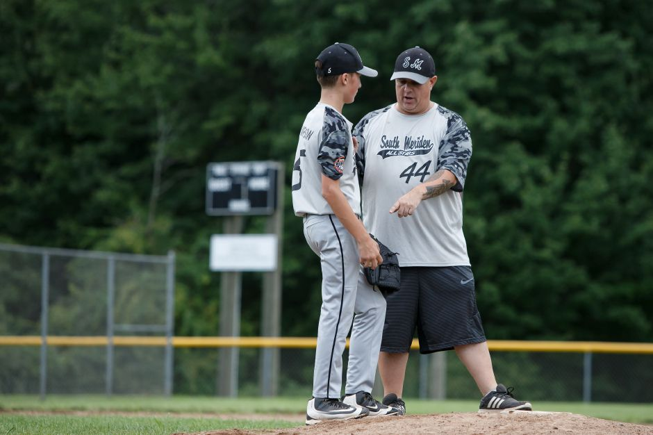 The Meriden City Series came to a close for South Meriden, David Stimpson and coach Gabe Zamorano with Sunday's 19-4 loss to Jack Barry at Ed Walsh Little League. | Justin Weekes / Special to the Record-Journal