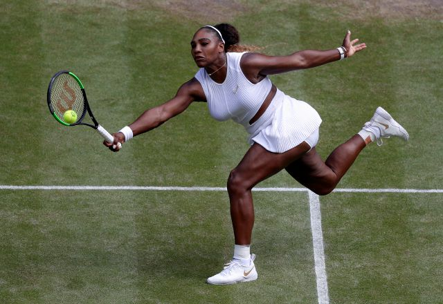 Serena Williams of the United States returns to the Czech Republic
