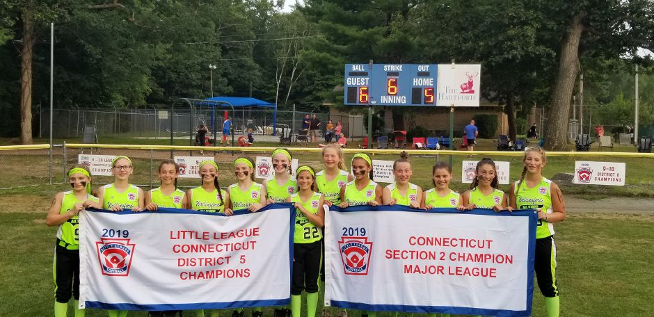 Girls Little League Softball of Wallingford the 12U majors girls little league holds both the District 5 and Section 2 championship banners on Wednesday in Simsbury after clinching the Section 2 crown.