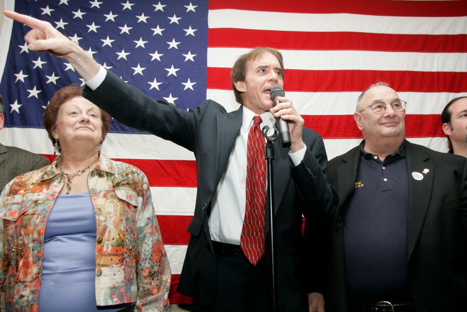 Mayor William Dickinson, elected for the thirthteen time, speaks to the crowd at the election night Republican headquarters at Brother