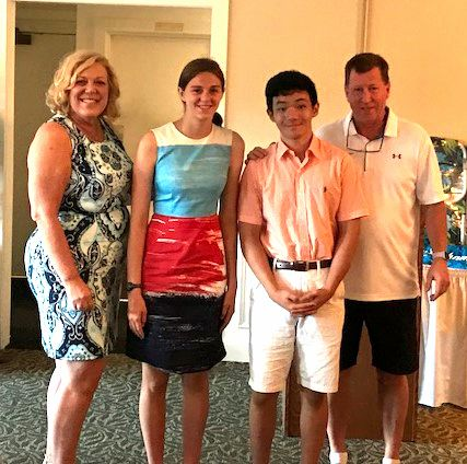 Yetta Augur President Cheshire Chamber of Commerce, Jessica Curello Scholarship Recipient ,Joseph Chen Scholarship Recipient and, Mike Winch Chairman of the Cheshire Chamber Golf Committee.