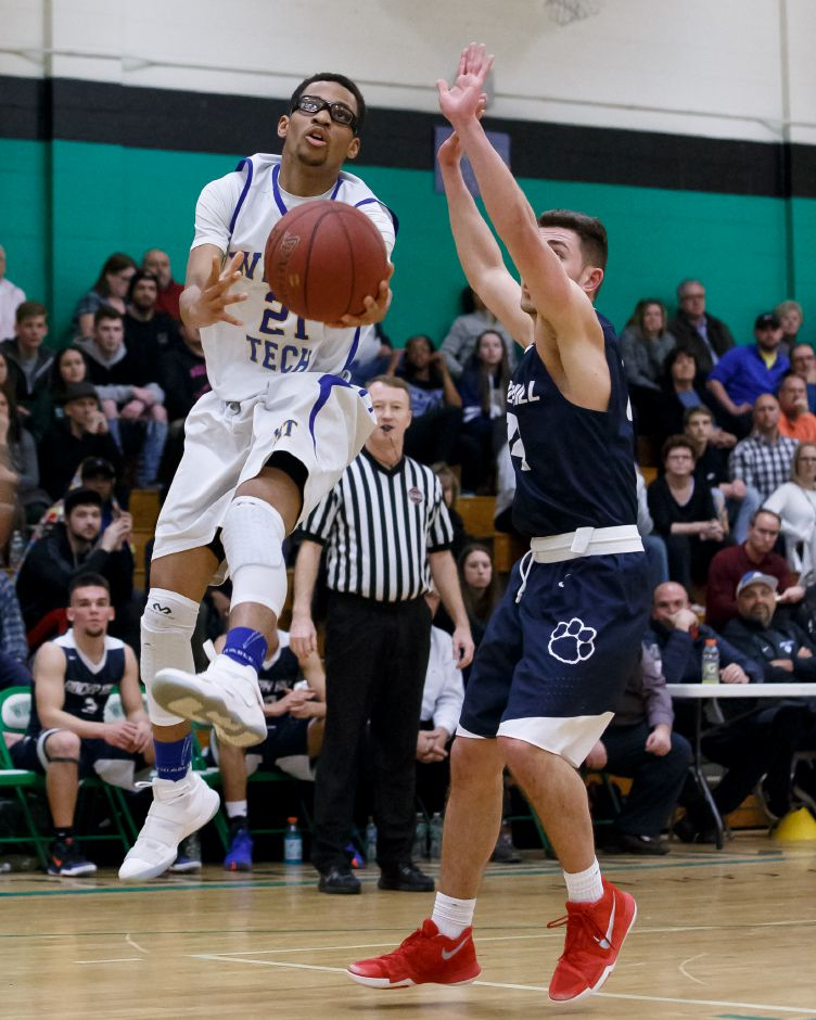 Bryce McClendon scored 13 points Monday to help the Wilcox Tech boys basketball team rally past Goodwin Tech 66-54 in New Britain. | Justin Weekes / Special to the Record-Journal