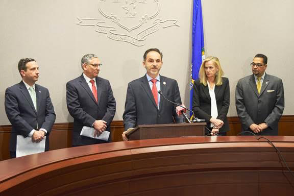 State Rep. Dave Yaccarino, center, is flanked by state senators Bob Duff and Len Fasano, left, and Sen. Joan Hartley and Rep. Geraldo Reyes Jr. (right).