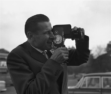 "Russian Goalkeeper Lev Yashin gets busy with a movie camera during sightseeing in London, United Kingdom on Oct. 21, 1963. Yashin is one of the world's top soccer stars now in London for next Wednesday's match between England and the ""Rest of the world"" team at Wembley. (AP Photo/John Rider-Rider)"