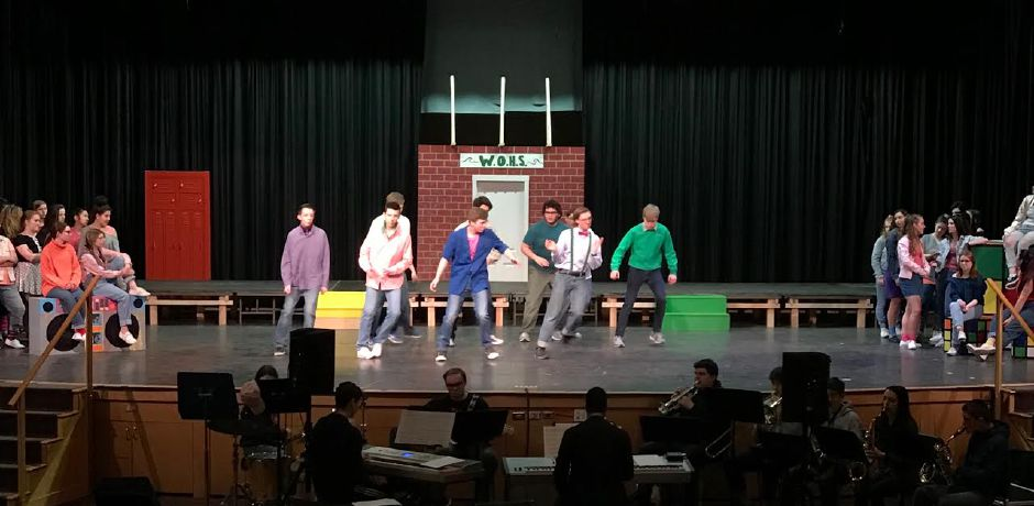 "The cast of ""Back to the 80s"" rehearses at Coginchaug Regional High School as they prepare for show scheduled for April 5-7. 