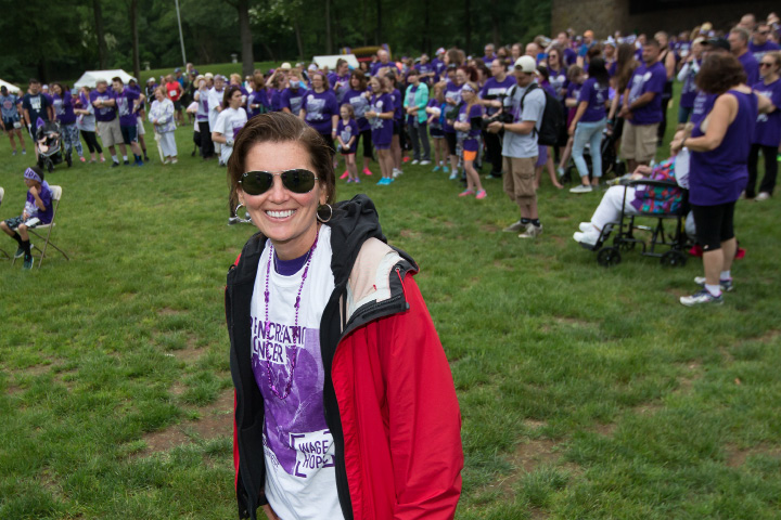 Survivor Marybeth Hoffman of Windsor was diagnosed with stage 4 B and is now cancer free Saturday during the PurpleStride 5k and walk fundraiser for Pancreatic Cancer Action Network at Hubbard Park in Meriden Jun. 17, 2017 | Justin Weekes / For the Record-Journal