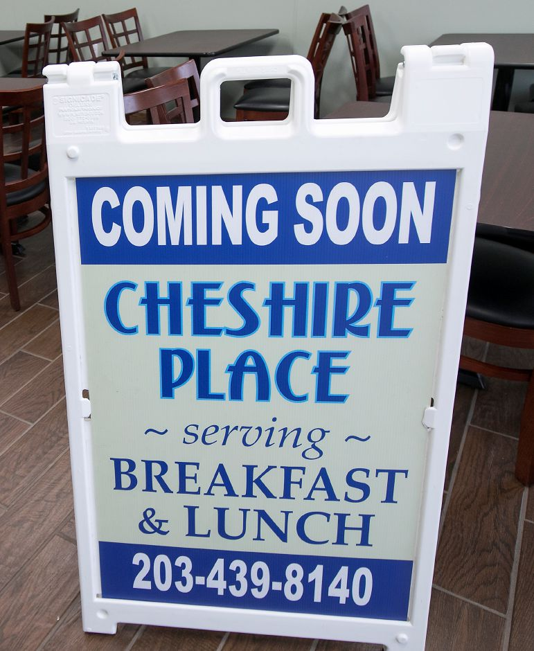 A sign for Cheshire Place, a new breakfast and lunch restaurant under renovation at 532 W. Main St. in Cheshire, Monday, April 16, 2018. Owner Segundo Fernandez hopes to open the business in May. Dave Zajac, Record-Journal