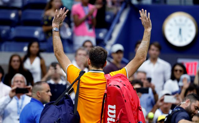 Juan Martin del Potro, of Argentina, waves to fans following a match against Rafael Nadal, of Spain, during the semifinals of the U.S. Open tennis tournament, Friday, Sept. 7, 2018, in New York. Nadal retired from the match. (AP Photo/Adam Hunger)