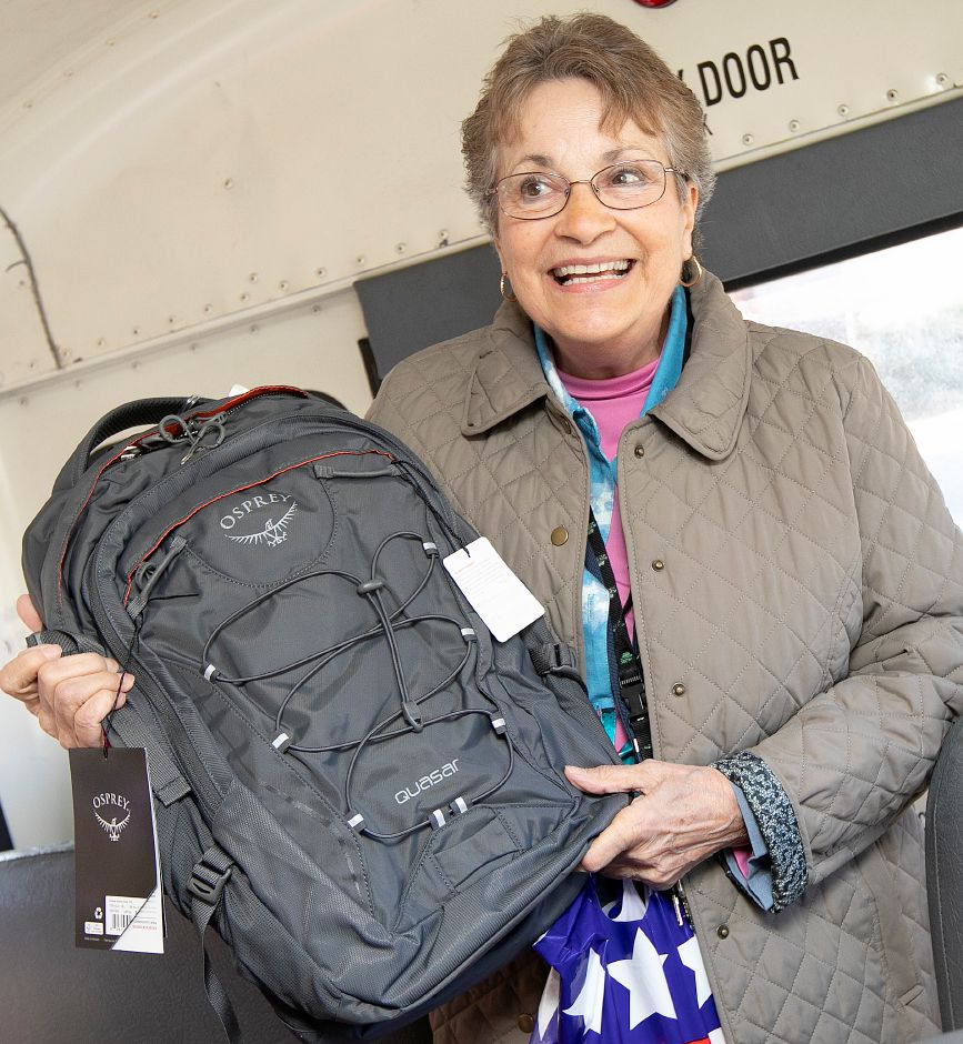 Moments before heading out on a field trip with students, Nathan Hale Elementary School second-grade teacher Carol Cotter is surprised with an education travel grant from Fund For Teachers and the Dalio Foundation, Thurs., Apr. 4, 2019. Cotter was one of ten Meriden teachers receiving the grant Thursday morning. Dave Zajac, Record-Journal