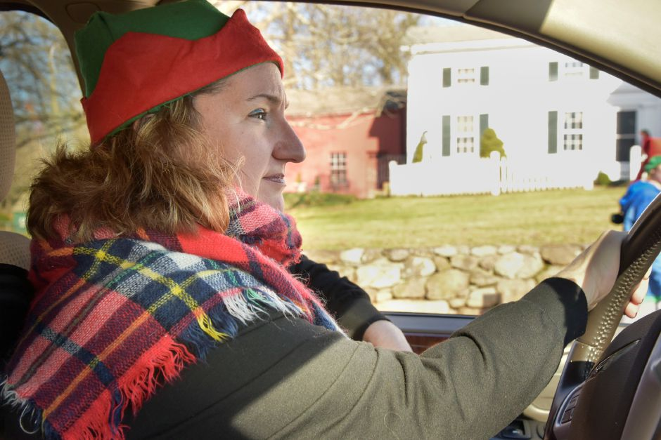 "Annjeannette Bugai drives the car where her ""team"" of kids bring donations collected door-to-door during the 13th annual Community Round-up in Durham and Middlefield on Saturday, Dec. 1, 2018. The event collected more than 13,000 food items and about $3,500 to go to Durham and Middlefield Social Services, and Amazing Grace in Middletown. 